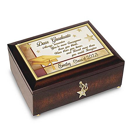 Keepsake Music Box: Congratulations Graduate Personalized Jewelry Music Box With Engraved Name – Graduation Gift Ideas