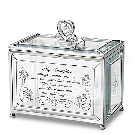 Daughter, You Are Loved Personalized Glass Keepsake Box With Heart-Shaped Charm