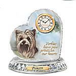 Pollyanna Pickering Yorkie Crystal Heart Personalized Decorative Dog Clock