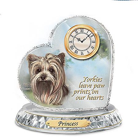 Pollyanna Pickering Yorkie Art Custom Crystal Clock with Dog's Engraved Name