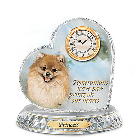 Linda Picken Pomeranian Art Custom Crystal Heart Clock with Dog's Engraved Name