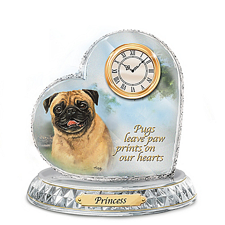 Linda Picken Pug Crystal Heart Personalized Decorative Dog Clock
