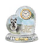 Linda Picken Schnauzer Crystal Heart Personalized Decorative Dog Clock