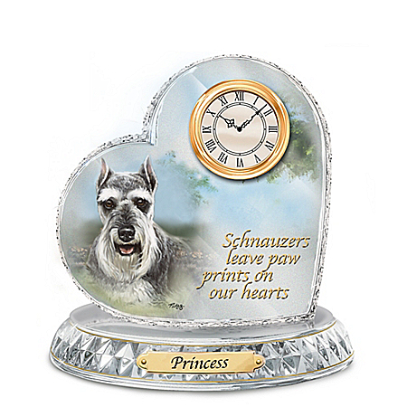 Linda Picken Schnauzer Crystal Heart Personalized Decorative Dog Clock