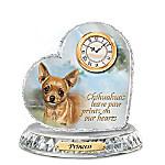 Linda Picken Chihuahua Crystal Heart Personalized Decorative Dog Clock
