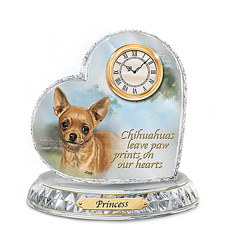 Linda Picken Chihuahua Crystal Heart Personalized Decorative Dog Clock