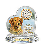 Golden Retriever Crystal Heart Personalized Decorative Dog Clock