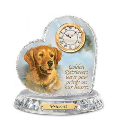Golden Retriever Crystal Heart Personalized Decorative Dog Clock