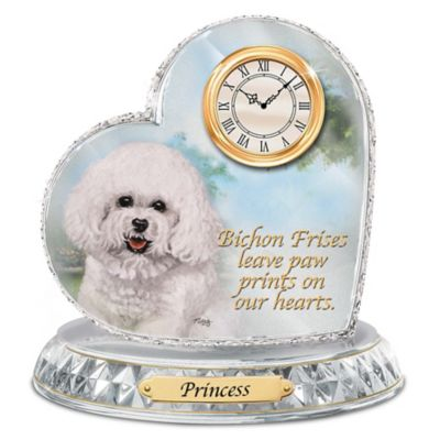Bichon Frise Crystal Heart Personalized Decorative Dog Clock
