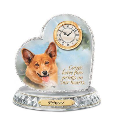 Corgi Crystal Heart Personalized Decorative Dog Clock