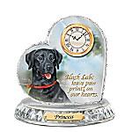 Black Labrador Crystal Heart Personalized Decorative Dog Clock