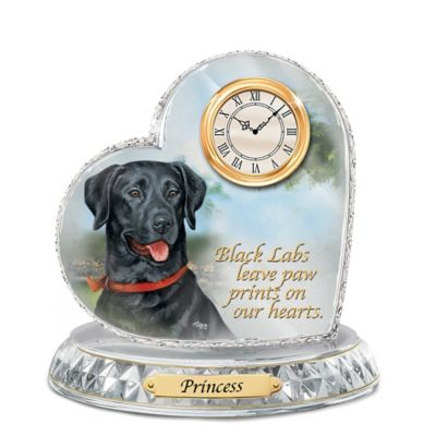 Black Labrador Crystal Heart Personalized Decorative Dog Clock