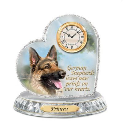 German Shepherd Crystal Heart Personalized Decorative Dog Clock