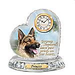 German Shepherd Crystal Heart Personalized Decorative Dog Clock