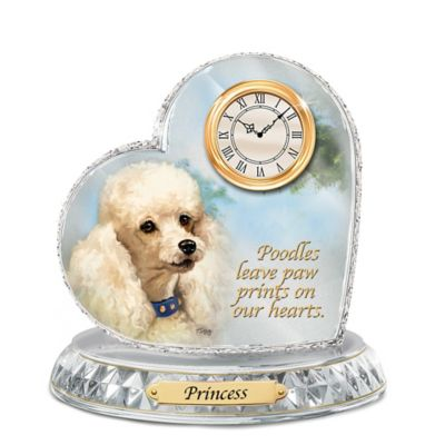 Poodle Crystal Heart Personalized Decorative Dog Clock