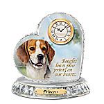 Beagle Crystal Heart Personalized Decorative Dog Clock