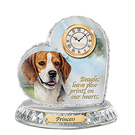 Beagle Crystal Heart Personalized Decorative Dog Clock
