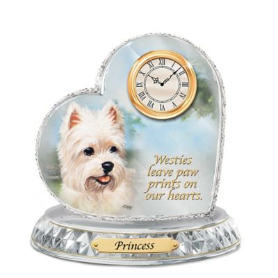 Westie Crystal Heart Personalized Decorative Dog Clock