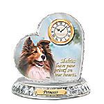 Sheltie Crystal Heart Personalized Decorative Dog Clock