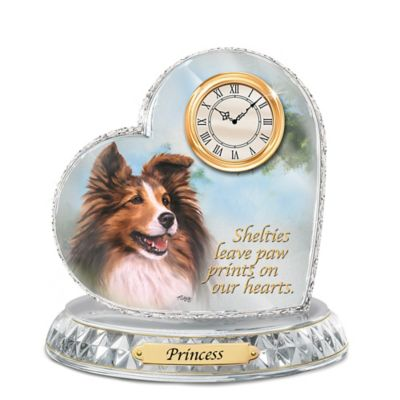 Sheltie Crystal Heart Personalized Decorative Dog Clock