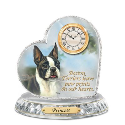 Boston Terrier Crystal Heart Personalized Decorative Dog Clock
