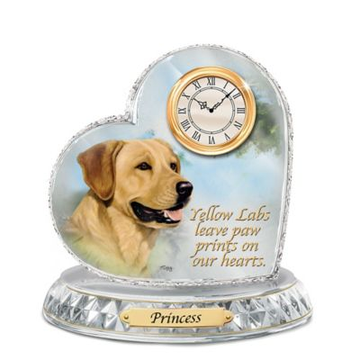 Yellow Labrador Crystal Heart Personalized Decorative Dog Clock