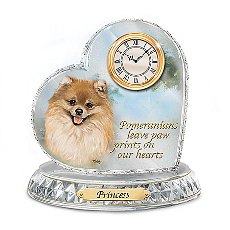 Favorite Dog Breeds Crystal Heart Personalized Decorative Clock