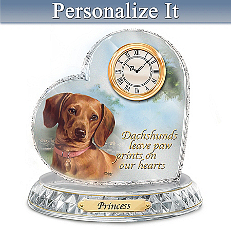 Linda Picken Dachshund Crystal Heart Personalized Decorative Dog Clock