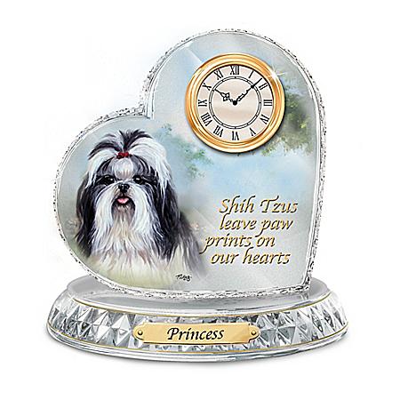 Linda Picken Shih Tzu Crystal Heart Personalized Decorative Dog Clock