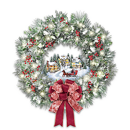 Thomas Kinkade A Holiday Homecoming Lighted Musical Christmas Wreath