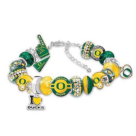Oregon Ducks Fashionable Fan College Football Charm Bracelet