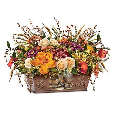 Thomas Kinkade Splendors Of Nature Illuminated Table Centerpiece