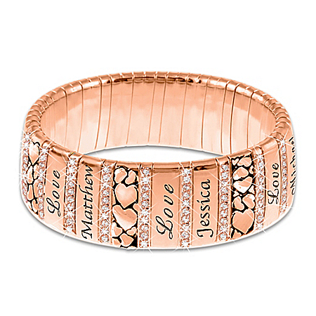 Mom's Family Of Love Personalized Copper Healing Women's Bracelet