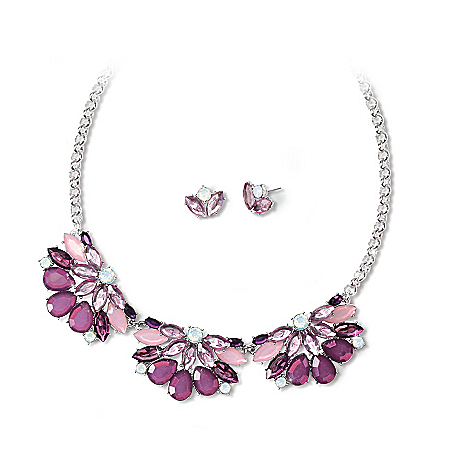 Santa Monica Women's Purple Necklace And Earrings Set