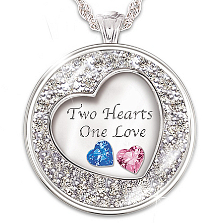 Two Hearts, One Love Personalized Silver-Plated Pendant Necklace