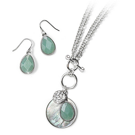 Ocean View Amazonite And Mother Of Pearl Necklace And Amazonite Earrings Set