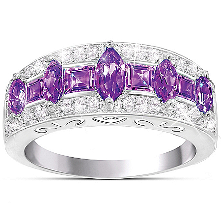 Purple Rhapsody Amethyst And Diamond Sterling Silver Women's Ring