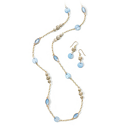 Pebble Beach Women's Necklace And Earrings Set With Mother Of Pearl