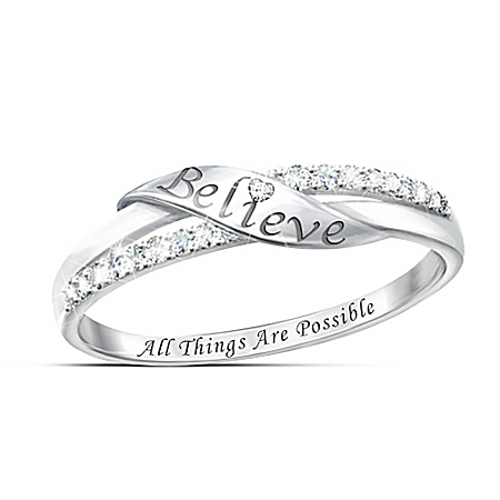 Believe Sterling Silver Diamond Ring