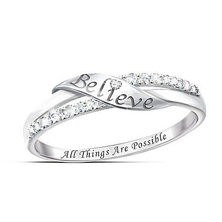 Believe Sterling Silver Diamond Ring