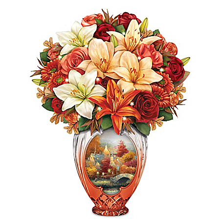 Light Up Thomas Kinkade Amber Elegance Always In Bloom Table Centerpiece