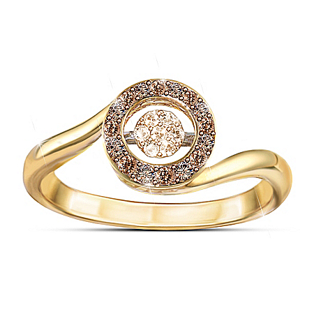 Brilliant Motions Indulgence Diamond 18K Gold-Plated Ring