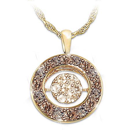 Indulgence Champagne And Mocha Diamond Pendant Necklace