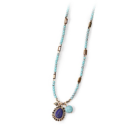 Rain Dance Women's Turquoise And Blue Lapis Beaded Necklace