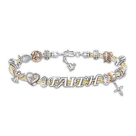 Faith Is A Blessing 24K Gold-Plated Religious Bracelet