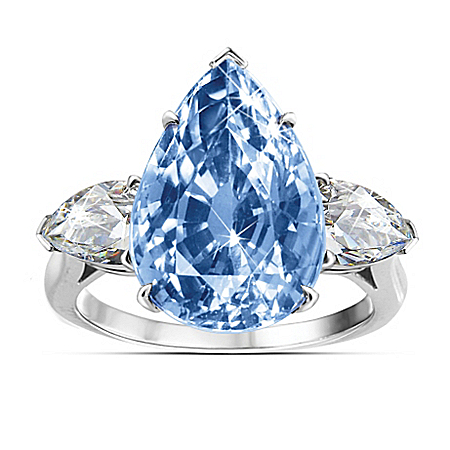 Diamonesk Blue Perfection Sterling Silver Ring
