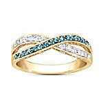 Paradise 18K-Gold Plated Blue And White Diamond Ring