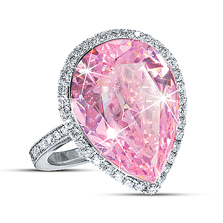 Auction Collection Pink Star Pear-Shaped Sterling Silver Diamonesk Women's Ring