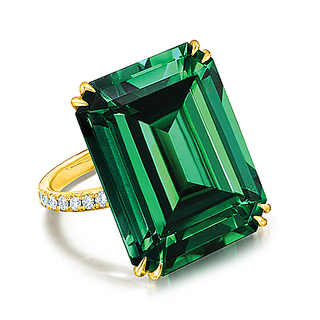 Auction Collection - Green With Envy Sterling Silver Diamonesk Women's Ring