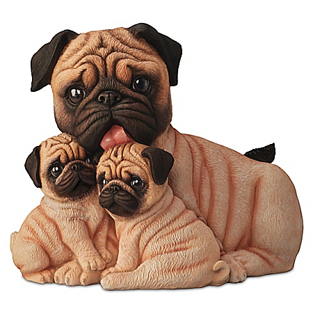 Pug Kisses Lifelike Dog Sculpture